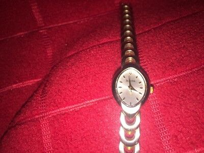 Ladies Two Tone Stainless Steel Bulova 98V02 Dress Quartz Watch