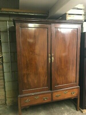 antique mahogany cabinet, linen press, wardrobe, age unknown possibly Georgian