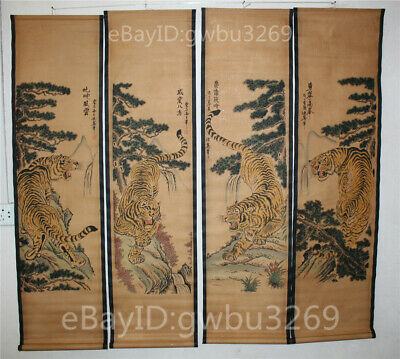 A Set Of 4 Pieces,Old Collection Scroll Chinese Painting :Four tigers