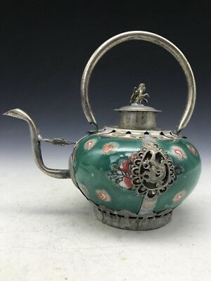 Collection China Tibetan silver hand-carved animal monkey armor porcelain teapot