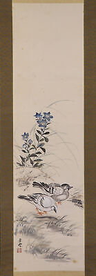 "JAPANESE HANGING SCROLL ART Painting ""Bird and Flower"" Asian antique  #E6562"