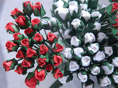 50 Miniature ROSEBUDS 3mm RED & WHITE MPRB3RW::: Doll House Card Decorations