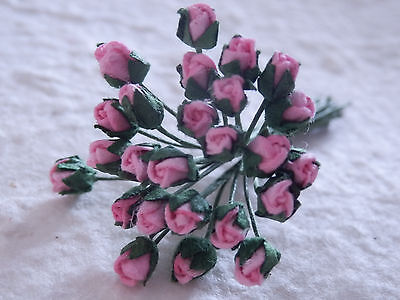 50 miniature ROSEBUDS 3mm PINK CARD Doll House TEDDYBEAR Scrapbook Decorations