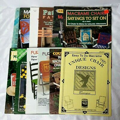Vintage Macrame Chair Books Lot of 11 Books and 1 Pamphlet