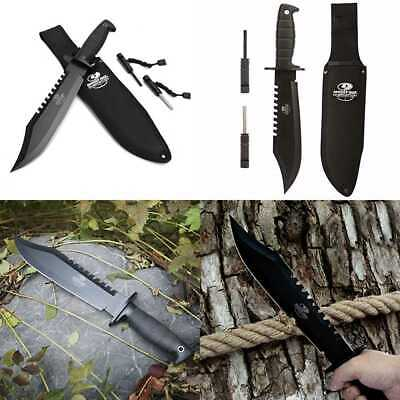 """Survival Knife 10"""" Fixed Blade Hunting Bowie W Sharpener & Fire Starter BLACK"""