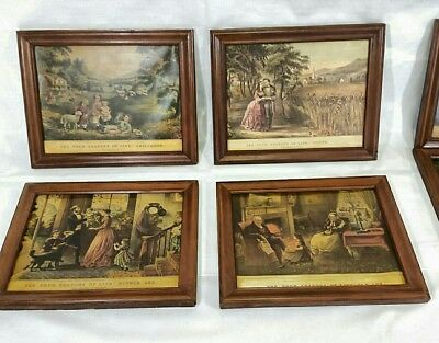 """Antique Curier Ives lithograph prints lot of 7  Solid Wood Frames 13"""" x 10.5"""""""