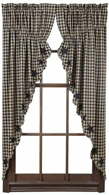 Black Star Prairie Swag Curtains 72WX63L Lined Scalloped Cotton Khaki Check VHC