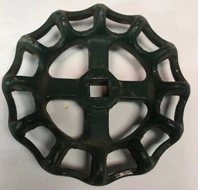 "Vintage Green Cast Aluminum Round Water Valve Handle 3.75"" Diameter"