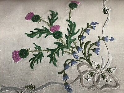 Gorgeous Vintage Linen Hand Embroidered Tablecloth ~ Thistles/bluebells/lace