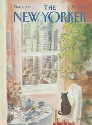 COVER ONLY ~The New Yorker magazine ~Sempe, Sempé ~ March 1 1982 ~ Cat Window