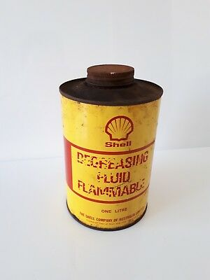 Vintage Shell One Litre Degreasing Fluid Tin, Collectible Garagenalia