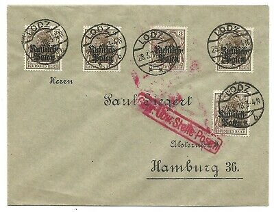 Germany Yr.1918 Ruffifch Polen Ovpt Cover To Hamburg.red Cancel.