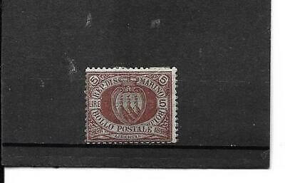 An Old Coat-Of-Arms  Stamp From San Marino #24(Scott)Mh Cat Val $225