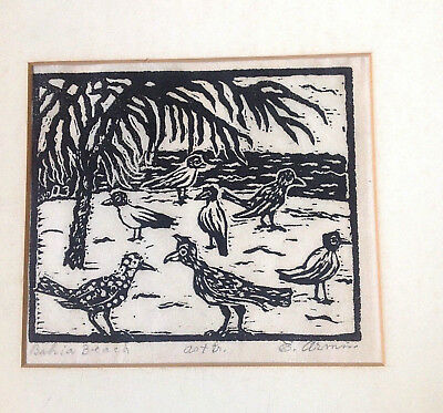 "EMIL ARMIN - ""Bahia Beach""- ORIGINAL LINOCUT on Japanese paper. Signed by artist"