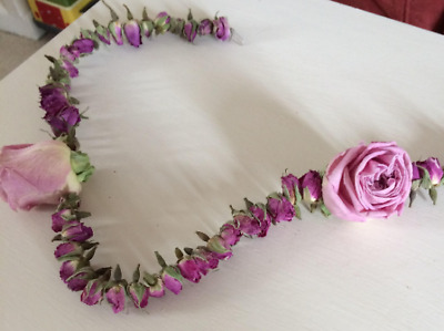 Dried Pink Rosebud and Rosehead Garland