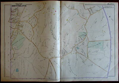 Brookline country club Norfolk County Massachusetts 1888 large detailed map
