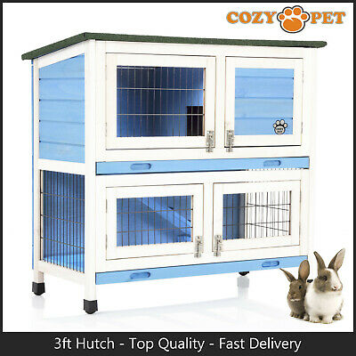 Rabbit Hutch 3ft by Cozy Pet Blue Guinea Pig Hutches Run Rabbit Ferret Runs RH06