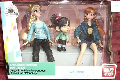 Disney Store Wreck-It Ralph Breaks the Internett Vanellope Anna & Elsa Doll Set