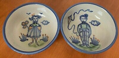 """M A Hadley 2 Country Scene Blue 5 1/2"""" Round Coupe Cereal Bowls Boy & Girl mint"""