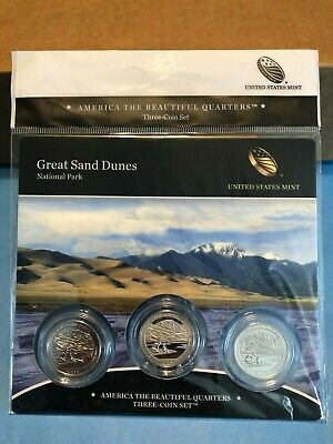 Us Mint Atb 3 Coin Set 2014 Great Sand Dunes, C.o.a. New Unopened! P,d&s Mints