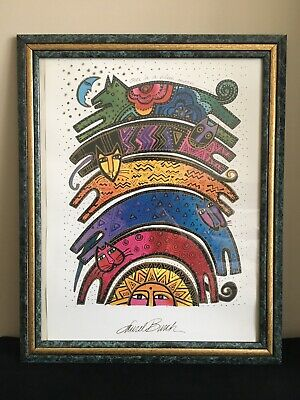 Laurel Burch Framed Once in a Blue Moon Art Print Lithograph Dogs Cats