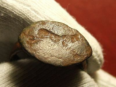 Antique Ancient bronze Ring with figure of animal running to identify