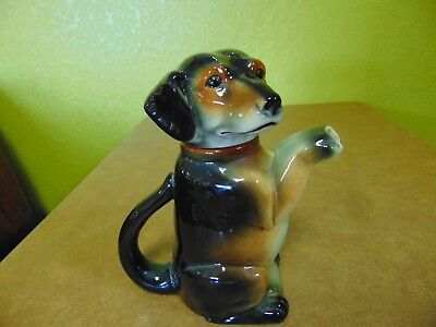 Vintage E&r Erphila Ceramic Dachshound Dog Tea Pot Pitcher Germany