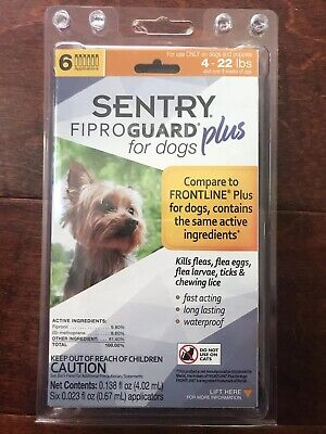 Sentry 6 Count Fiproguard Plus For Dogs Squeeze-on (4-22 pound)