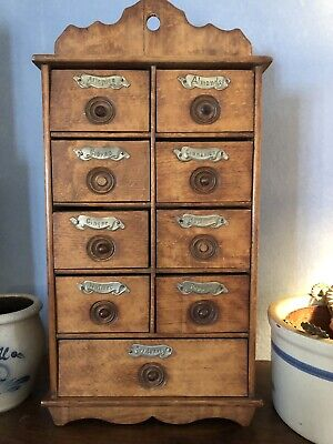 Antique Wood 9 Drawer Spice Chest With Labels