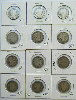 Barber quarters Lot of 12 silver coins $3 face value 2.17 troy oz asw