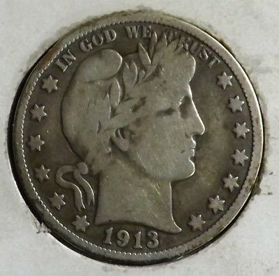1913 50C Barber Half Dollar Fine Low Mintage Rare KEY DATE Coin!