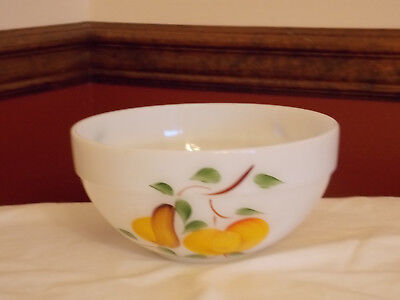 Vintage Fire King Gay Fad Mixing Bowl Hand Painted Fruit