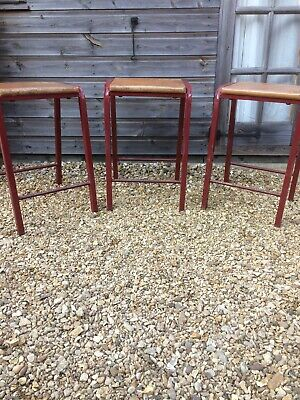 Vintage School Classroom Stools Metal Frame with Wooden Seats - Industrial Style