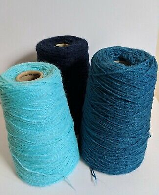 selection of 3 Blue cones of Acrylic yarns,  machine knitting, handknitting