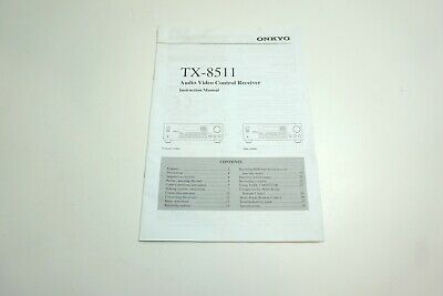 Original Onkyo Instruction Manual For Tx-8511 Audio Video Control Receiver