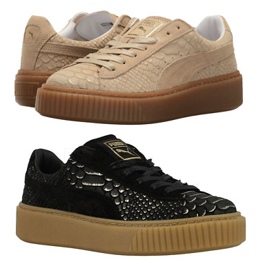 New Puma Ladies Womens Platform  Leather Trainers Shoes Lace Up Gold Black