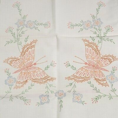 Vtg Table Runner Cotton Cross Stich Embroidery Butterflies Stamped 14 x 42 Mid