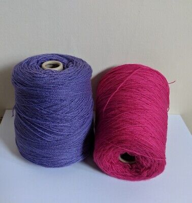 2 cones of acrylic yarns, Light violet and Pink yarns, machine knitting