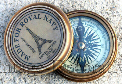 """Nautical Brass Antique Poem Compass Made For Royal Navy Compass Vintage 2.5"""""""
