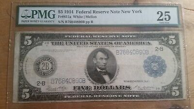 1914 $5 Federal Reserve Note New York Pmg Very Fine 25