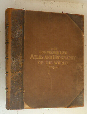 Large Vintage Book Comprehensive Atlas and Geography of the World Blackie 1882