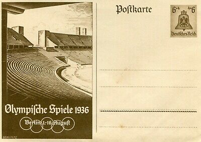 1936 German Post Card Olympifche Seiele Olympics George Fitz 6 X 4 Inches