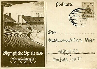 1936 German Post Card Olympifche Spiele Olympics George Fitz 6 X 4 P/m Dresden