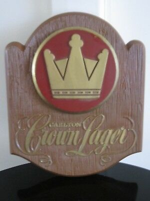 Rare Collectable Carlton Brewery Crown Lager Advertising Wall Plaque.