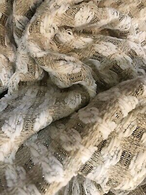 "Tan & White w/metallic Wool Blend Chenille Suiting  56"" wd 5 yds 14 in $40.00"
