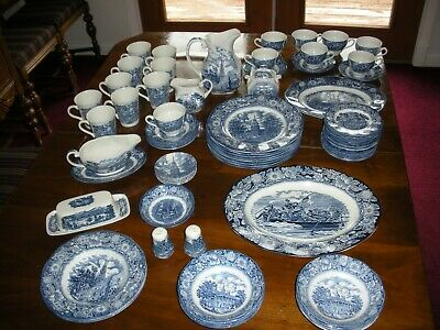 62Pieces of Vintage Liberty Blue Staffordshire China Colonial Scenes