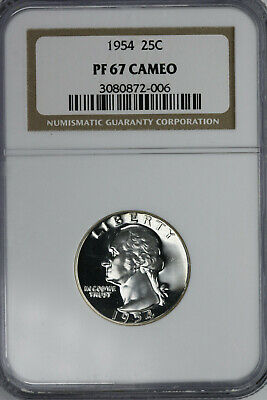 1954 Proof  Washington Quarter NGC PF67 CAMEO
