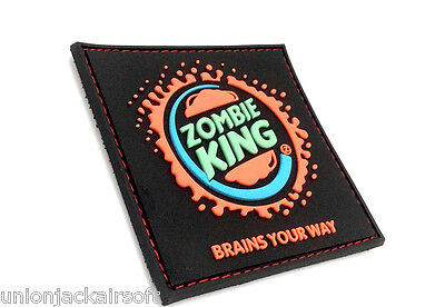 Zombie King Brains Your Way PVC Large Airsoft Patch