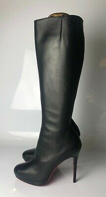 low priced 1e9bc df960 $1395 CHRISTIAN LOUBOUTIN Botalili 120 Black Calf Leather Boots Euro 38
