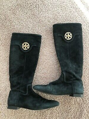4a8d48f4cfa0 TORY BURCH BLACK Suede Tall Boots Size 7 1 2 -  39.99
